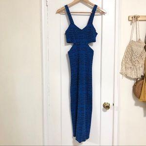 Nom de Plume blue/black fitted maxi dress M